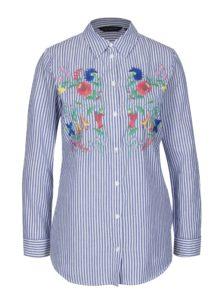 Modro-biela pruhovaná košeľa s výšivkami Dorothy Perkins