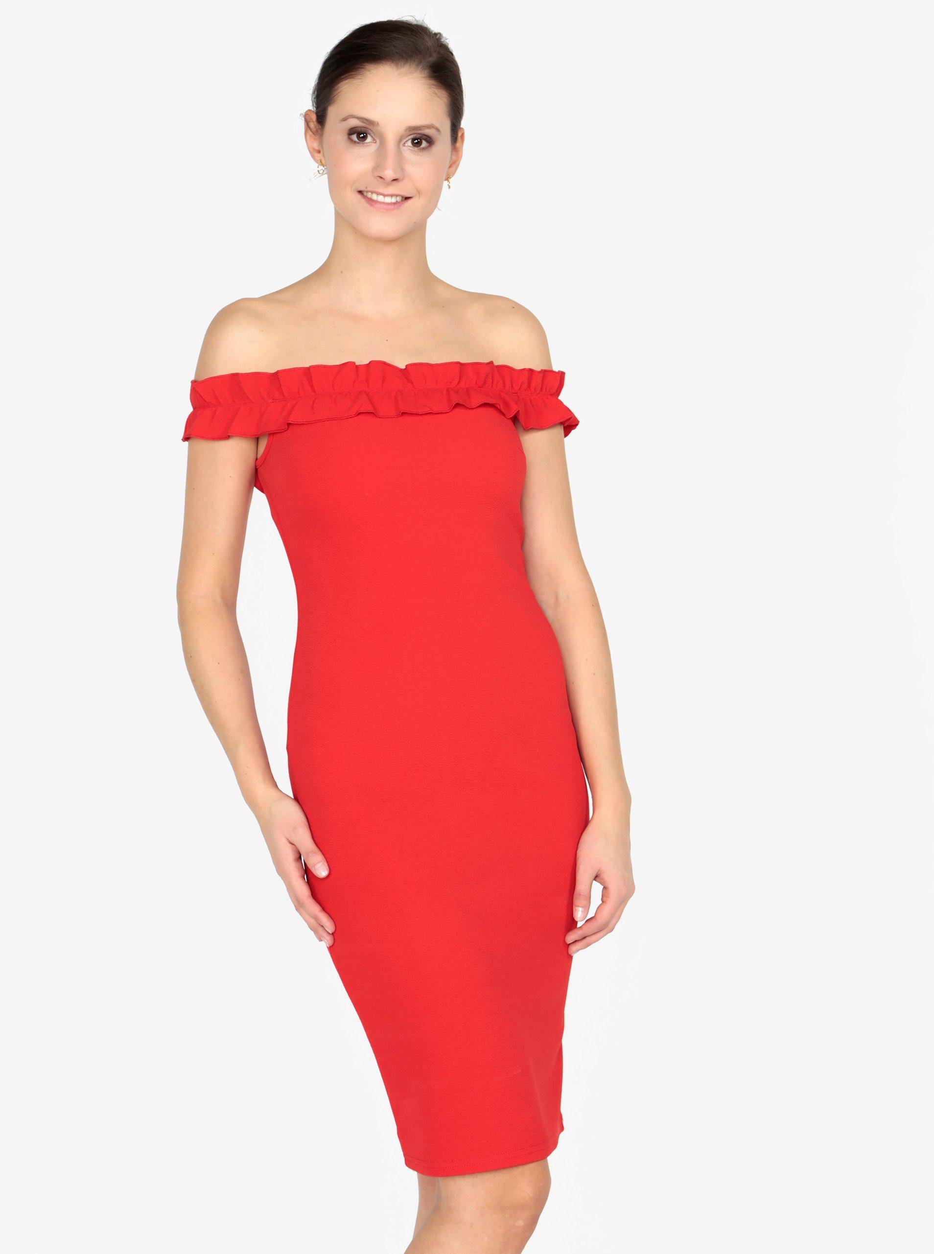 a38aa9cb8384 Červené puzdrové šaty s odhalenými ramenami AX Paris
