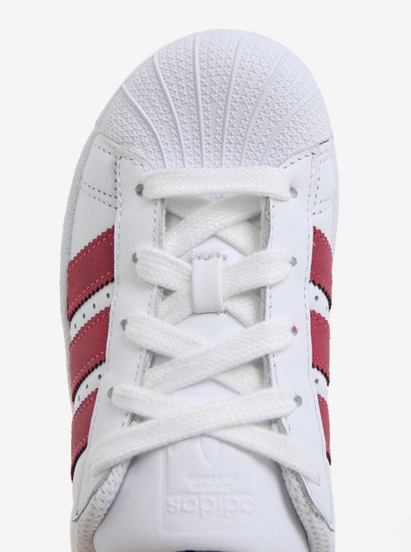 40289079cecc2 Biele detské kožené tenisky s ružovými pruhmi adidas Originals SUPERSTAR C