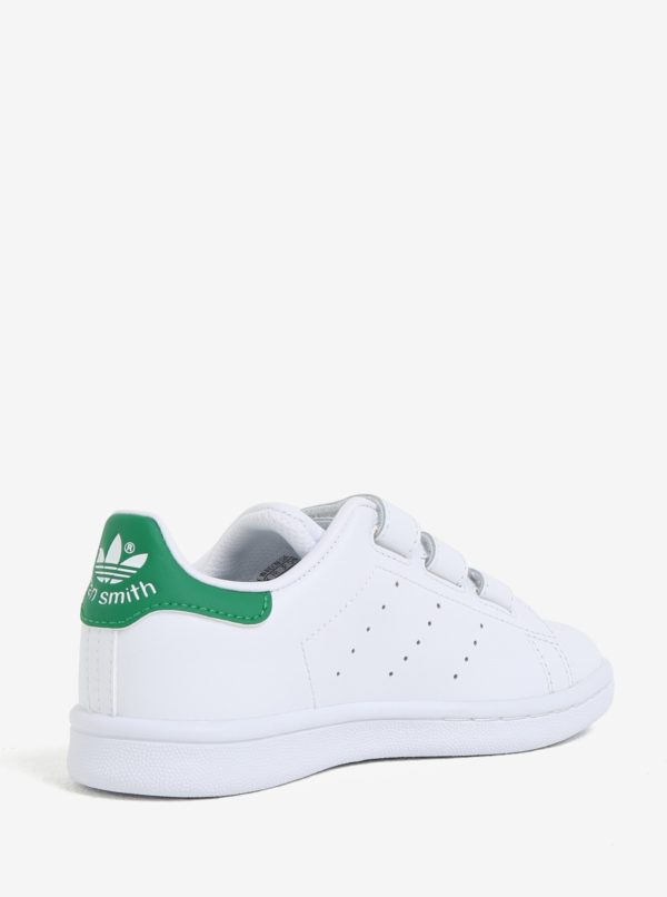 Biele detské kožené tenisky na suchý zips adidas Originals Stan Smith Cf C