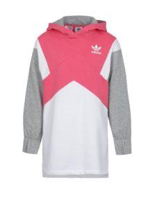 Bielo-ružová dievčenská mikina s kapucňou adidas Originals J M Ft Hoodie