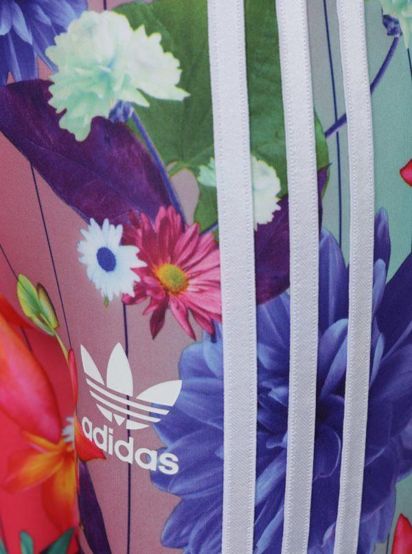 Ružové kvetované dievčenské legíny adidas Originals