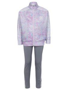 Sivo-ružový dievčenský set bundy a legín adidas Originals
