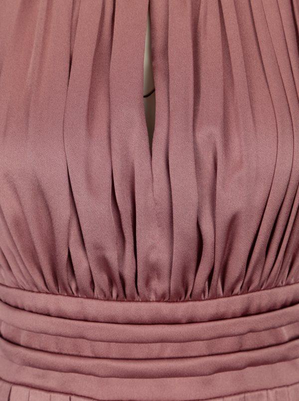 Ružové lesklé plisované maxišaty Little Mistress