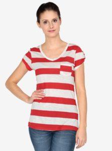 Krémovo-červené tričko s krátkym rukávom Haily´s Helen