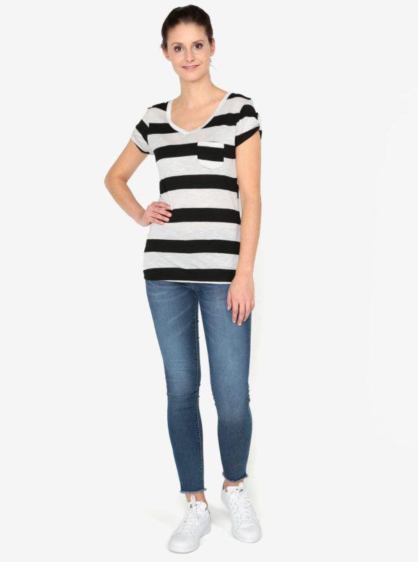 Krémovo-čierne tričko s krátkym rukávom Haily´s Helen