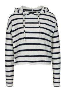 Bielo-modrý pruhovaný crop sveter s kapucňou TALLY WEiJL