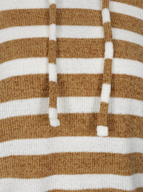 Bielo-hnedý pruhovaný crop sveter s kapucňou TALLY WEiJL