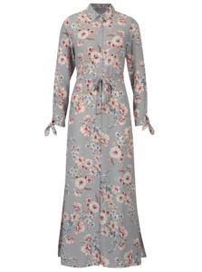 Sivé kvetované maxišaty Dorothy Perkins Petite