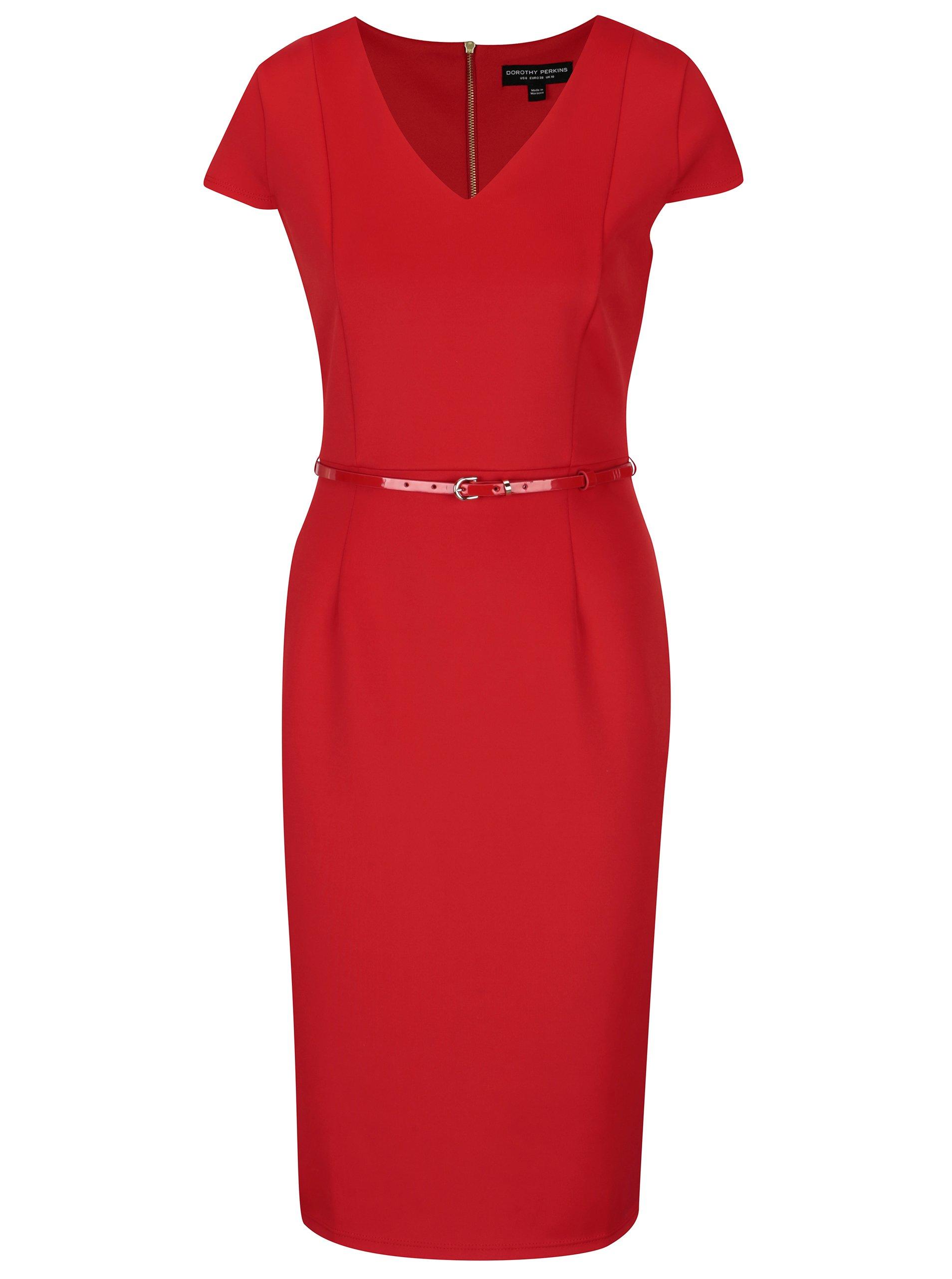 1459f4f1db84 Červené puzdrové šaty s opaskom Dorothy Perkins