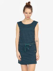 Tmavomodré melírované šaty s opaskom Ragwear Tag