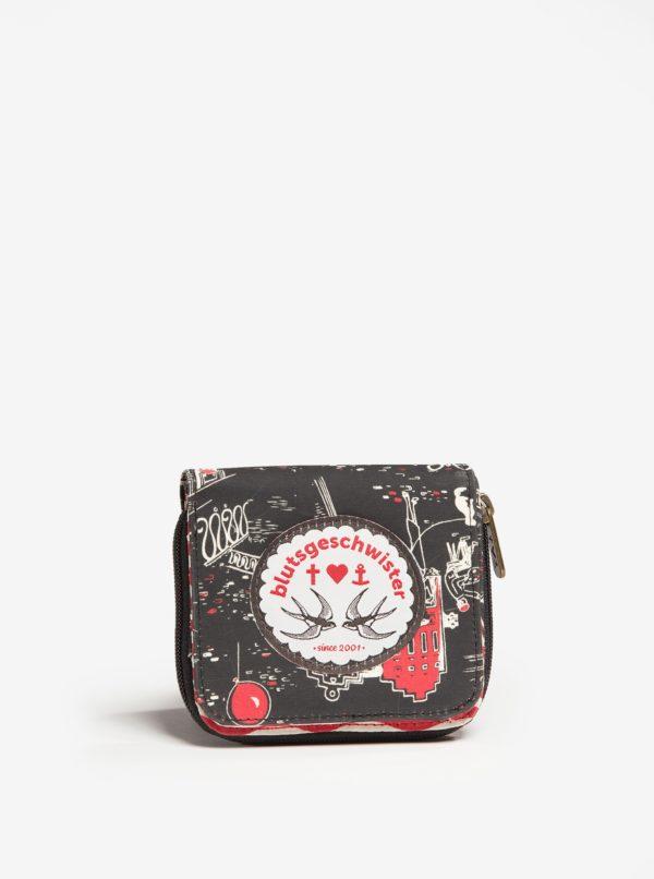 Čierna vzorovaná peňaženka Blutsgeschwister