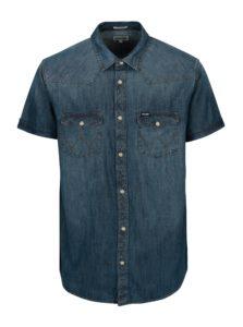 Modrá pánska rifľová regular fit košeľa Wrangler Western