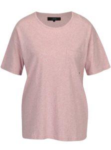 Svetloružové dámske melírované oversize tričko Makia