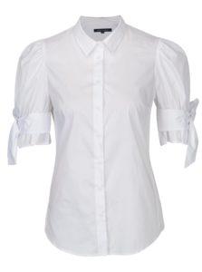 Biela košeľa s mašľou na rukávoch French Connection Eastside