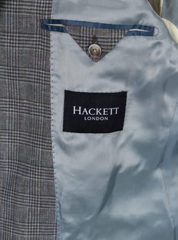 Sivé kockované ľanové sako Hackett London