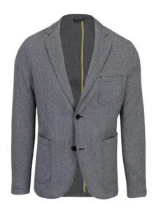 Modro-sivé pánske vzorované sako s vreckami s.Oliver