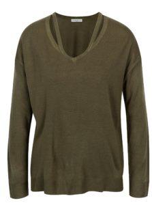 Kaki sveter s prestrihmi Jacqueline de Yong More