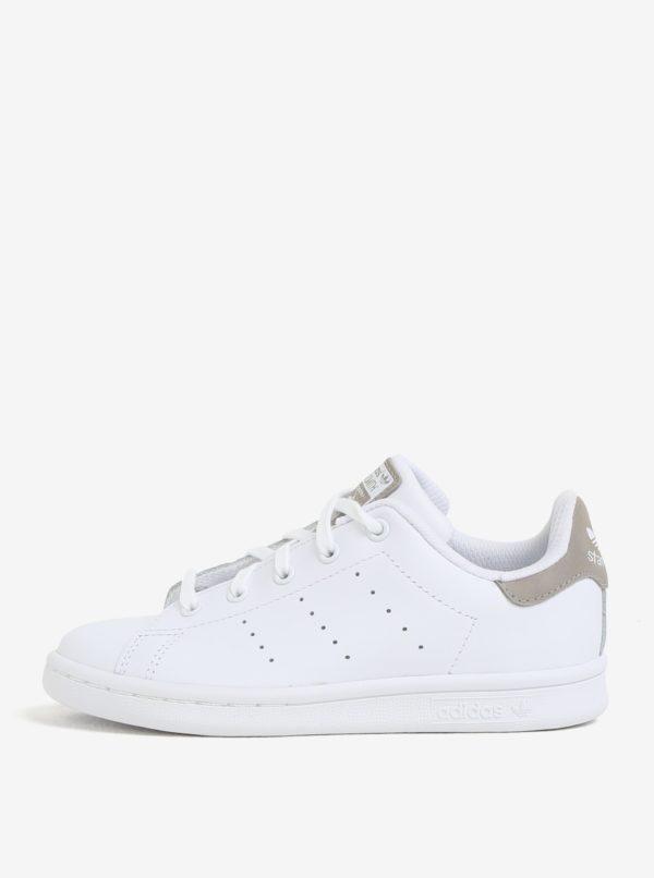 Biele detské kožené tenisky adidas Originals