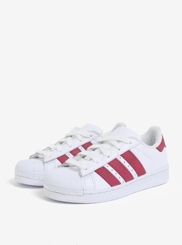 Biele detské kožené tenisky s červenými detailmi adidas Originals