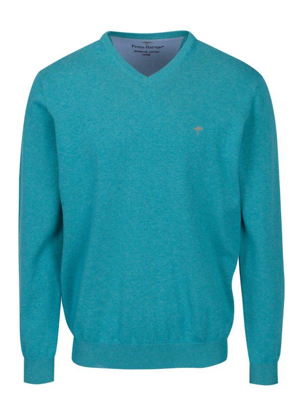 Tyrkysový sveter s véčkovým výstrihom Fynch-Hatton