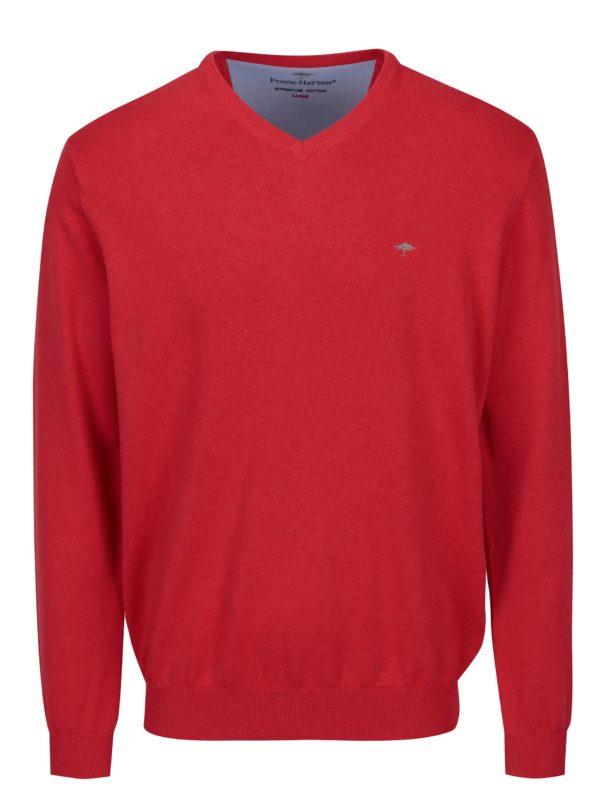 Červený sveter s véčkovým výstrihom Fynch-Hatton