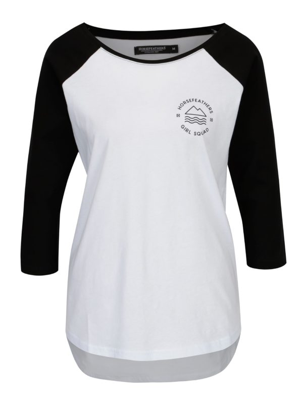 Biele dámske tričko s dlhým rukávom Horsefeathers Linn