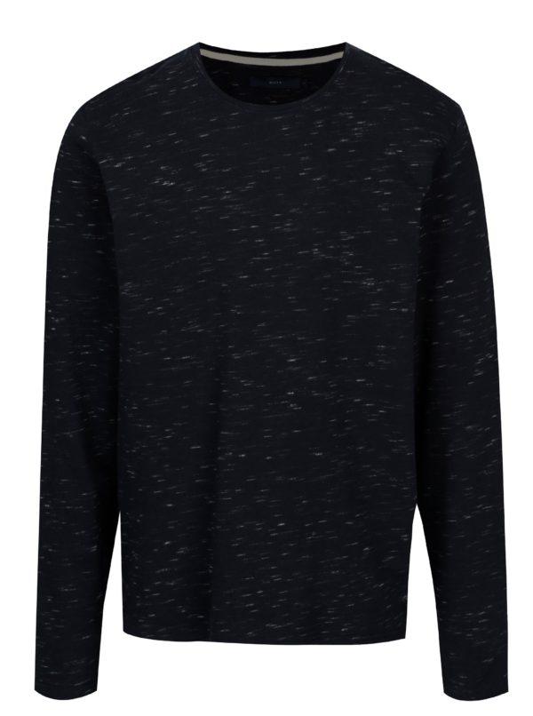 Tmavomodrá tenký melírovaný sveter SUIT