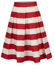 Červeno-krémová pruhovaná kolesová sukňa MONLEMON Navy Red
