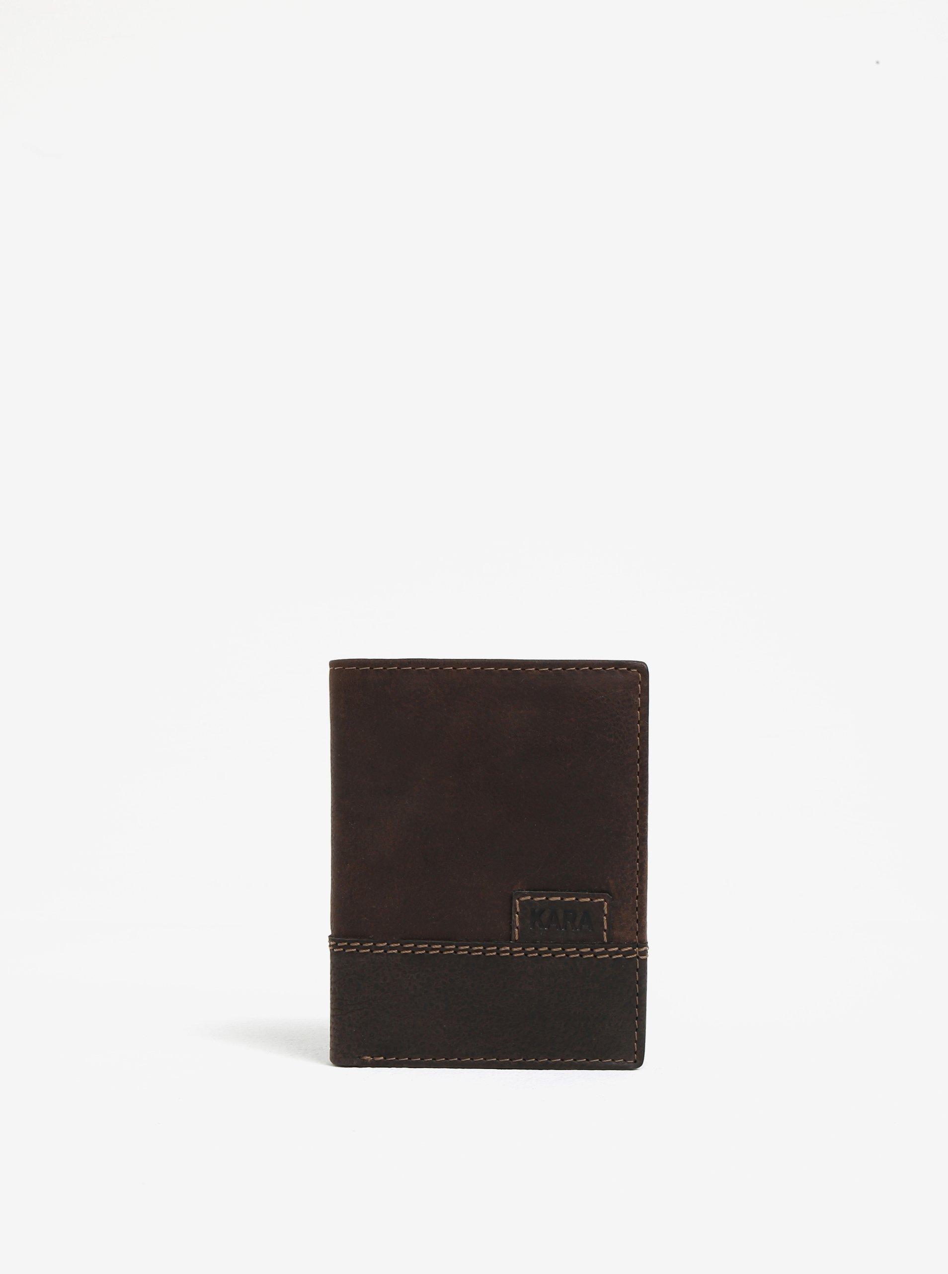 Tmavohnedá pánska kožená peňaženka KARA  62faaae450c