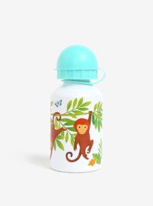 Biela fľaša s potlačou opice a leňochoda Sass & Belle Jungle Friends