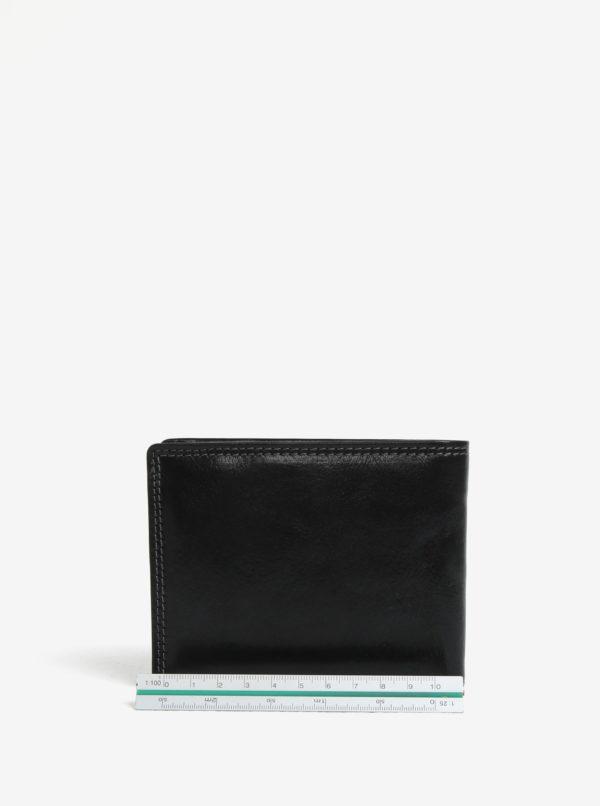 Čierna pánska kožená peňaženka s gravírovaným logom KARA