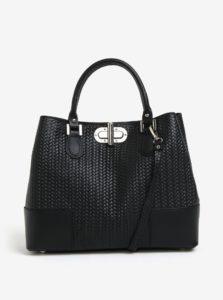 Čierna dámska kožená kabelka so vzorom KARA