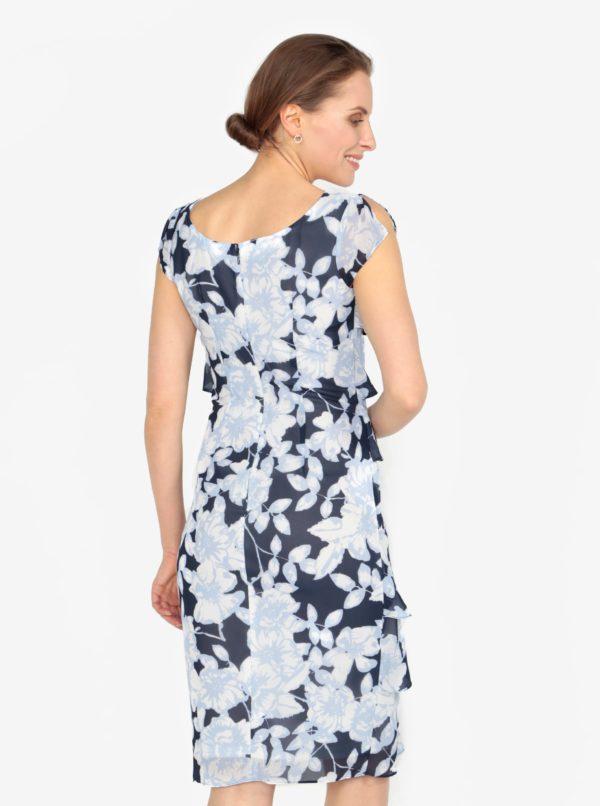 Modré vzorované šaty s volánmi M&Co