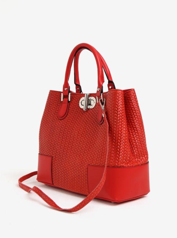 Červená dámska kožená kabelka so vzorom KARA