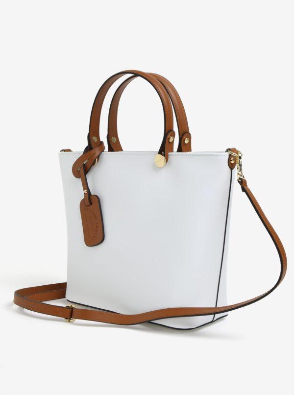 Biela dámska kožená kabelka KARA