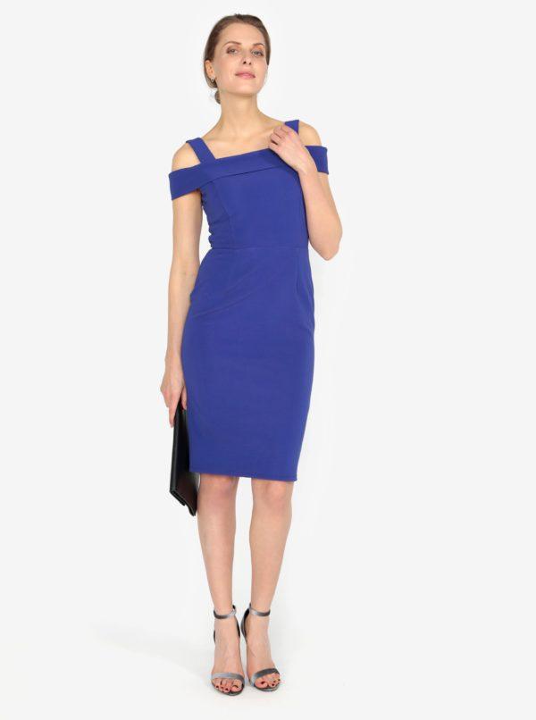 Modré šaty s odhalenými ramenami M&Co