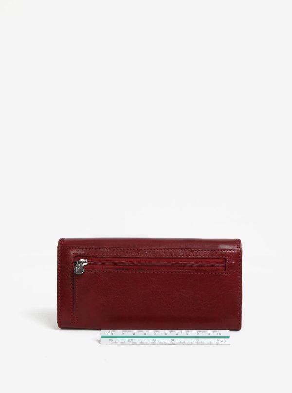 Vínová dámska veľká kožená peňaženka KARA