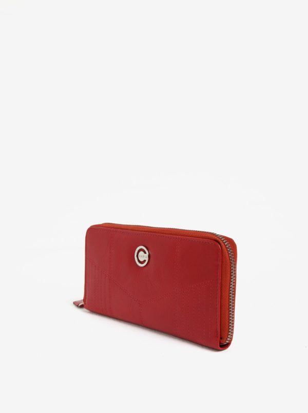 Červená dámska veľká kožená peňaženka na zips KARA