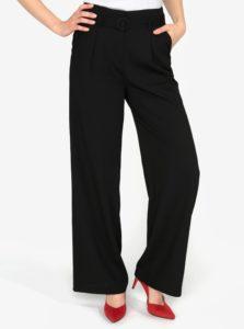 Čierne voľné nohavice s vysokým pásom a opaskom VERO MODA Emmy