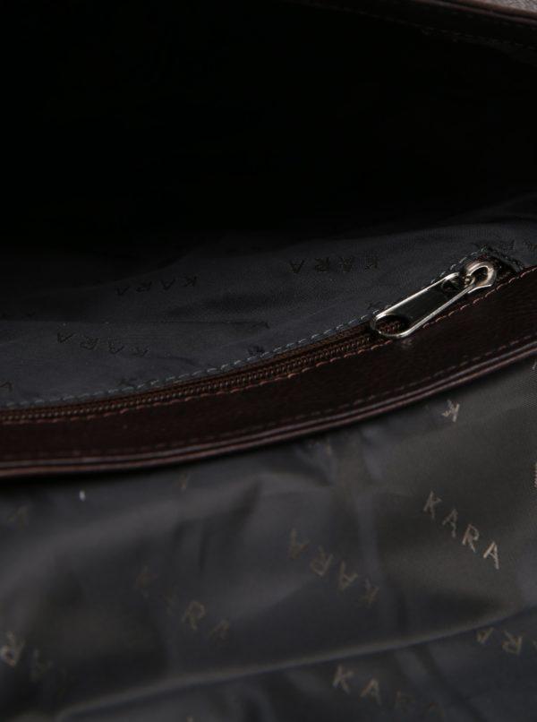 Tmavohnedá pánska kožená taška KARA