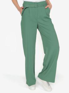 Zelené voľné nohavice s vysokým pásom a opaskom VERO MODA Emmy