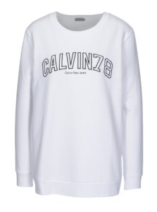 Biela dámska mikina s výšivkou Calvin Klein Jeans Core