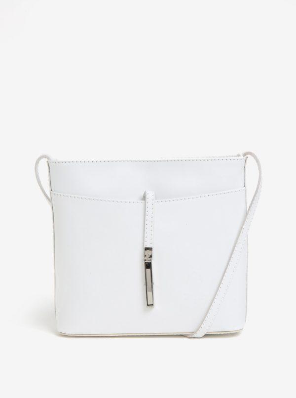 Biela kožená crossbody kabelka s detailom v striebornej farbe  KARA