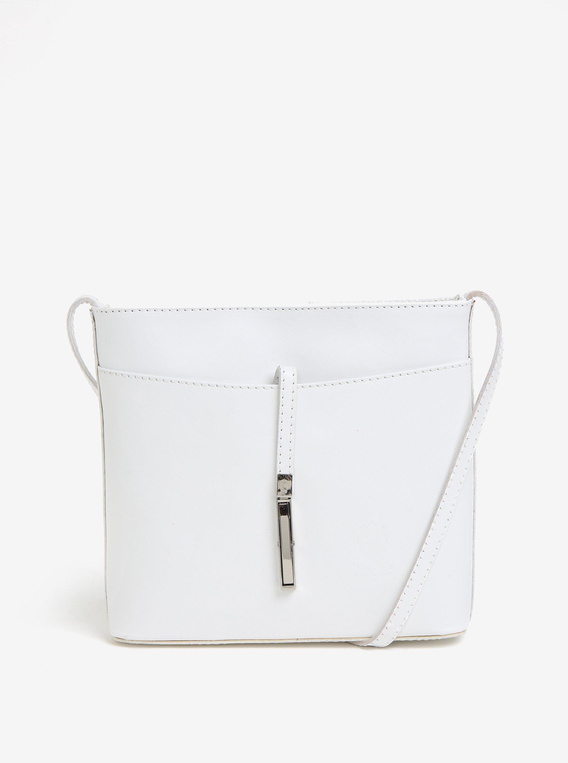 ff427b878b Biela kožená crossbody kabelka s detailom v striebornej farbe KARA ...