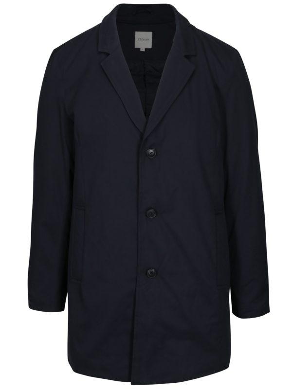 Tmavomodrý kabát s odnímateľným golierom Jack & Jones Tristan