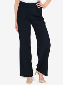Tmavomodré voľné nohavice s vysokým pásom a opaskom VERO MODA Emmy