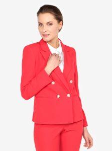 Červené sako s gombíkmi v zlatej farbe Miss Selfridge