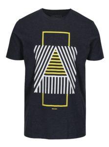 Tmavomodré melírované slim fit tričko s potlačou Jack & Jones Booster