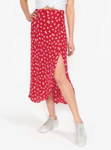 Červená kvetovaná priesvitná sukňa s rozparkom Miss Selfridge